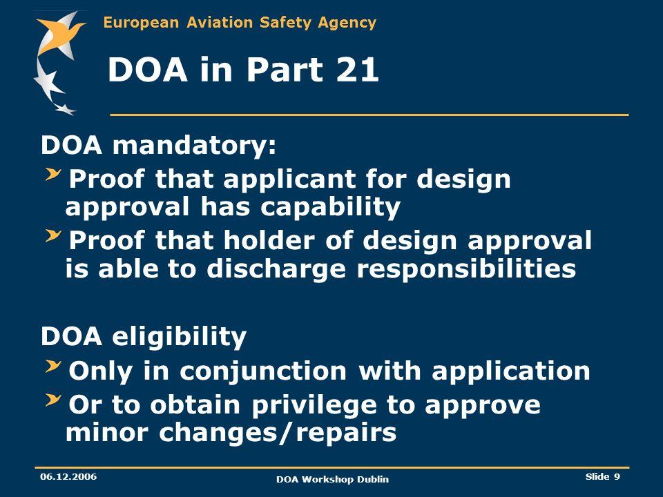 European Aviation Safety Agency 06.12.2006 DOA Workshop Dublin Slide 9 DOA in Part 21 DOA mandatory: Proof that applicant for design approval has capa