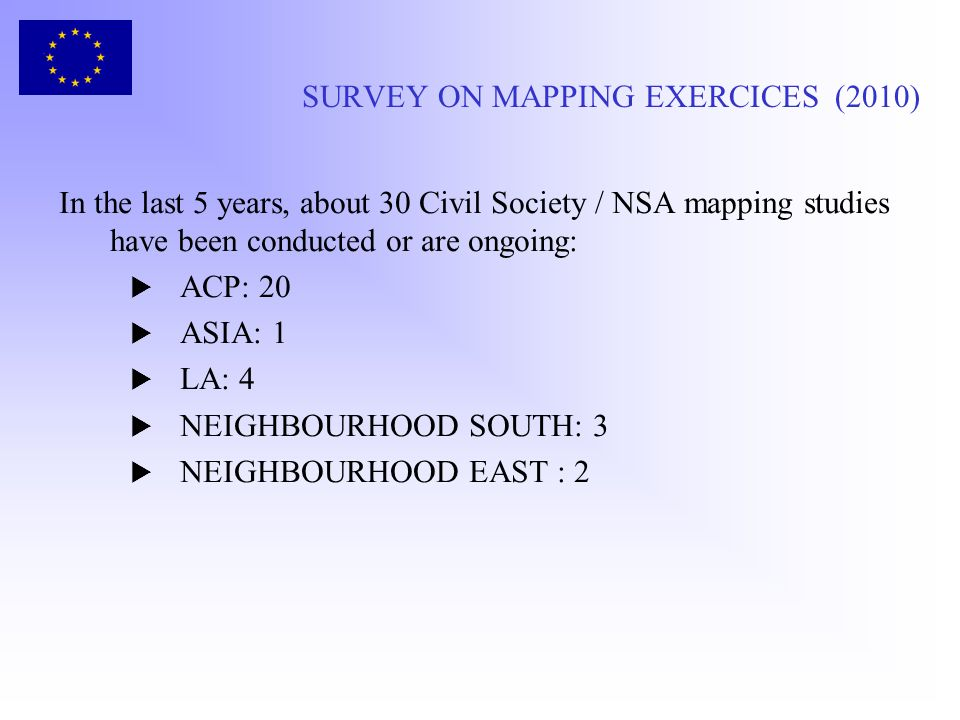 SURVEY ON MAPPING EXERCICES (2010) In the last 5 years, about 30 Civil Society / NSA mapping studies have been conducted or are ongoing: ACP: 20 ASIA: