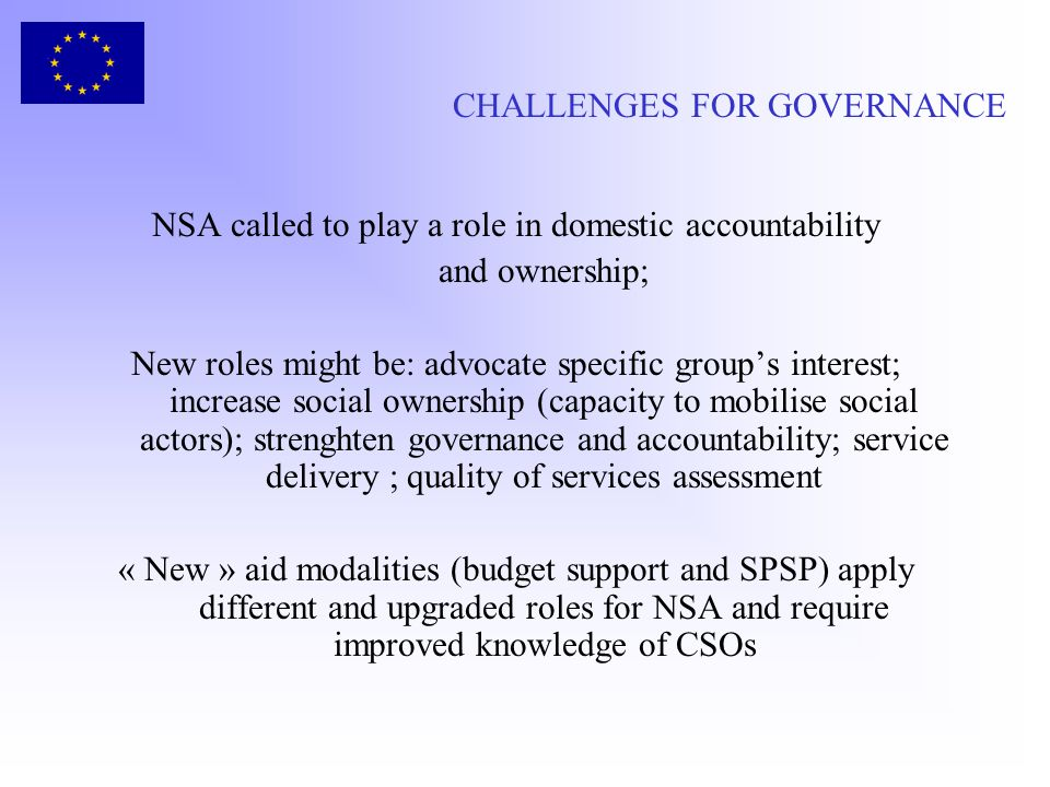 CHALLENGES FOR GOVERNANCE NSA called to play a role in domestic accountability and ownership; New roles might be: advocate specific groups interest; i