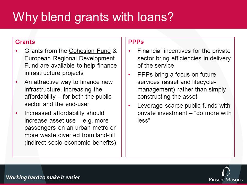 Why blend grants with loans.