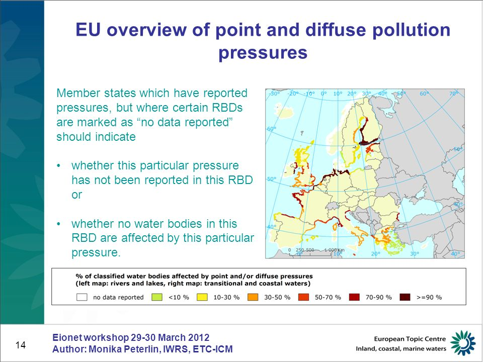 14 EU overview of point and diffuse pollution pressures Eionet workshop 29-30 March 2012 Author: Monika Peterlin, IWRS, ETC-ICM Member states which ha
