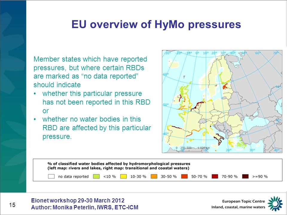 15 EU overview of HyMo pressures Eionet workshop 29-30 March 2012 Author: Monika Peterlin, IWRS, ETC-ICM Member states which have reported pressures,