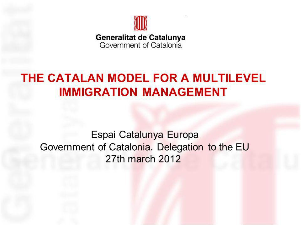 THE CATALAN MODEL FOR A MULTILEVEL IMMIGRATION MANAGEMENT Espai Catalunya Europa Government of Catalonia.
