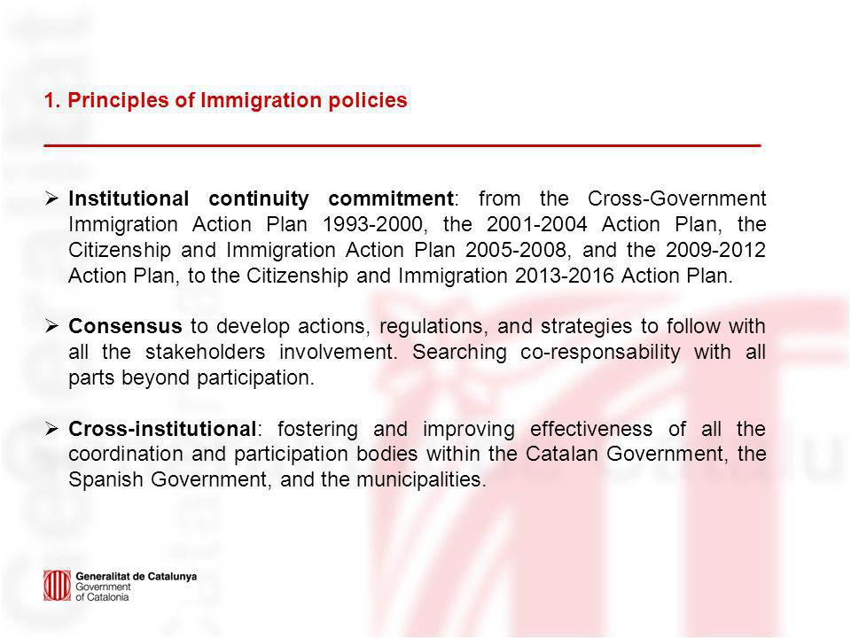 1. Principles of Immigration policies Institutional continuity commitment: from the Cross-Government Immigration Action Plan 1993-2000, the 2001-2004