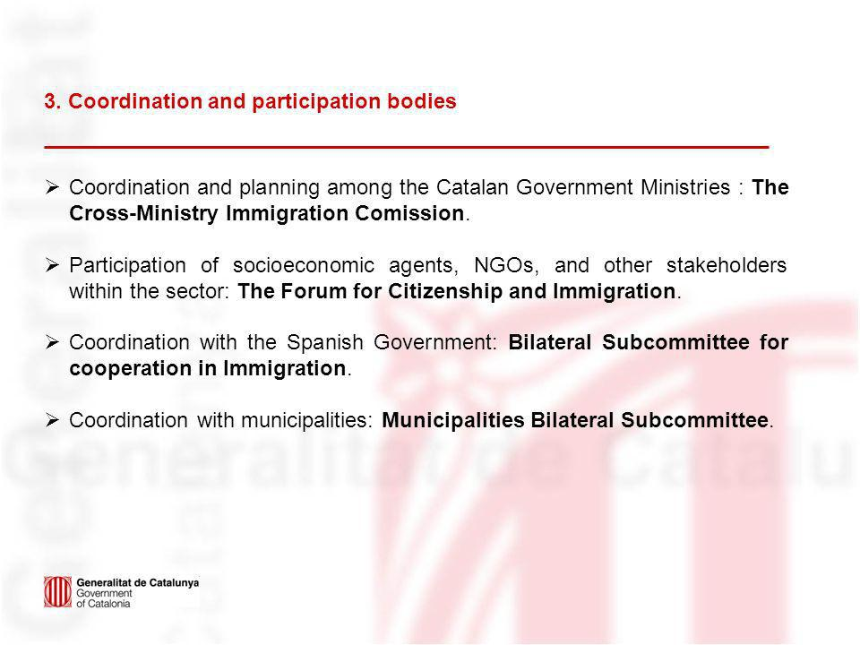 3. Coordination and participation bodies Coordination and planning among the Catalan Government Ministries : The Cross-Ministry Immigration Comission.