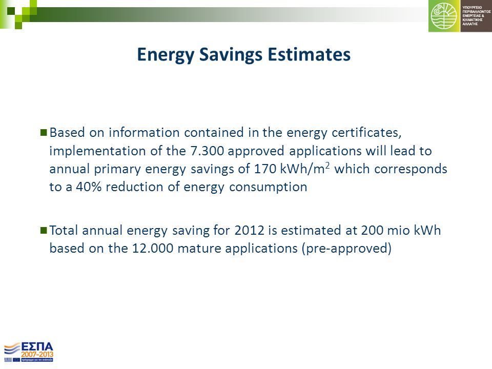 Energy Savings Estimates Based on information contained in the energy certificates, implementation of the 7.300 approved applications will lead to ann