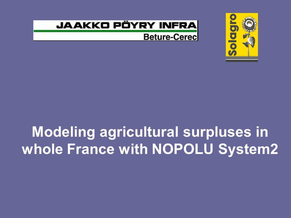 Modeling agricultural surpluses in whole France with NOPOLU System2