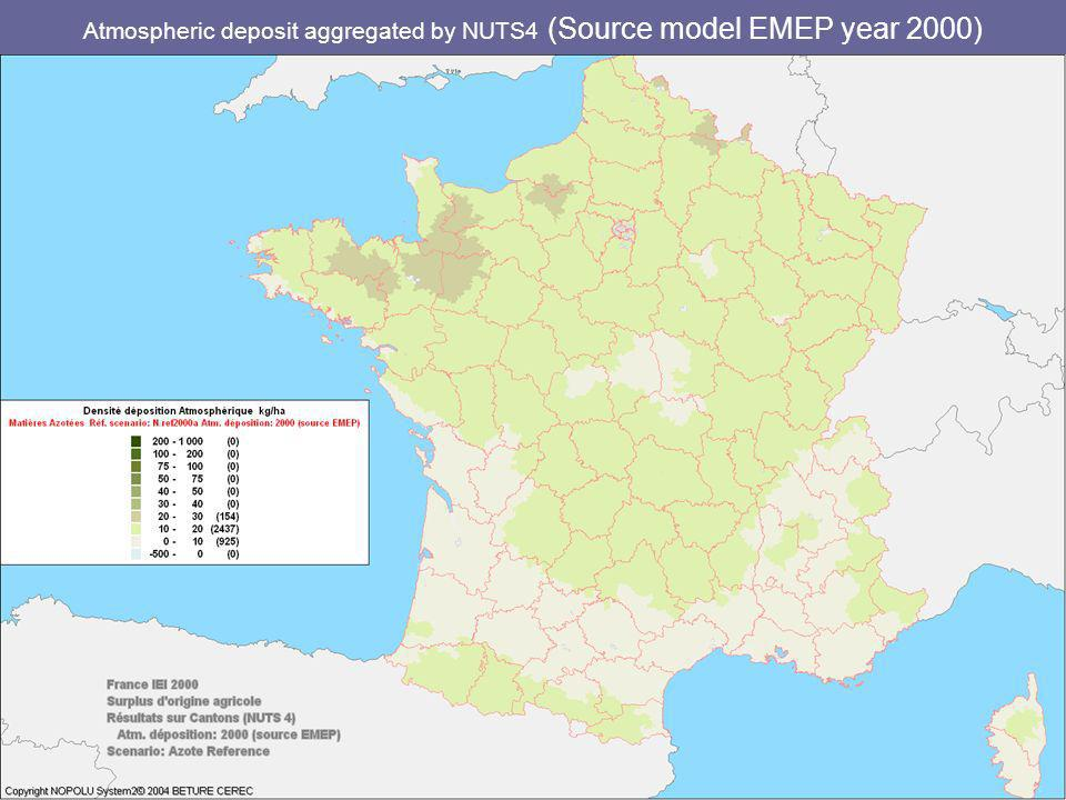 Atmospheric deposit aggregated by NUTS4 (Source model EMEP year 2000)