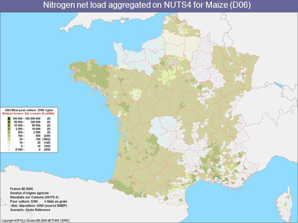 Nitrogen net load aggregated on NUTS4 for Maize (D06)