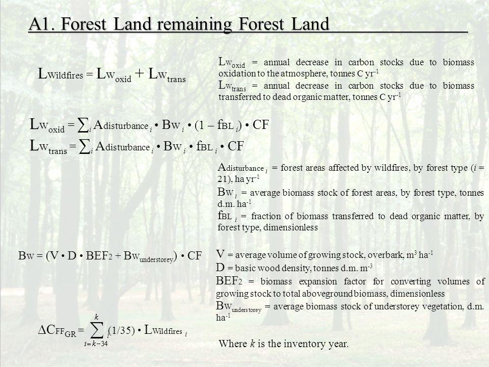 L Wildfires = L W oxid + L W trans L W oxid = i A disturbance i B W i (1 – f BL i ) CF L W trans = i A disturbance i B W i f BL i CF B W = (V D BEF 2 + B W understorey ) CF A1.
