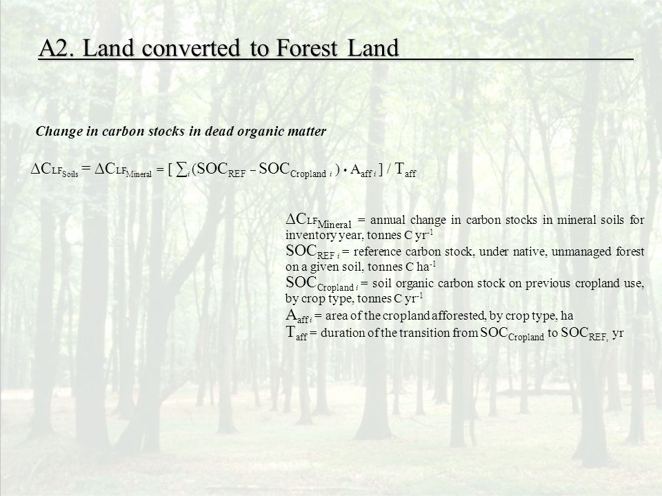C LF Soils = C LF Mineral = [ i ( SOC REF – SOC Cropland i ) A aff i ] / T aff A2. Land converted to Forest Land C LF Mineral = annual change in carbo