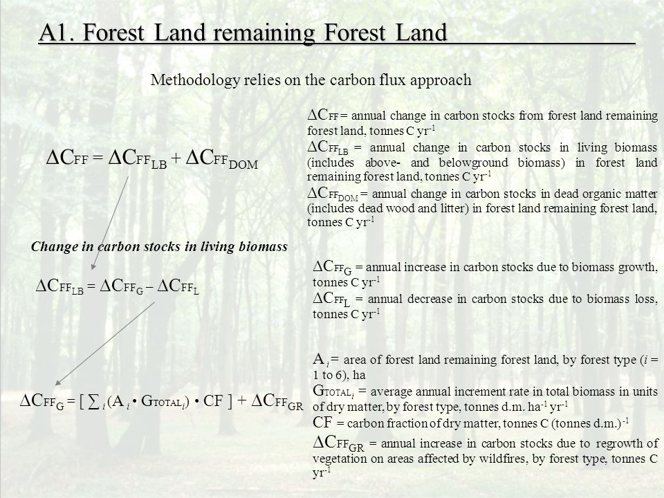 A1. Forest Land remaining Forest Land Methodology relies on the carbon flux approach Change in carbon stocks in living biomass C FF LB = C FF G – C FF