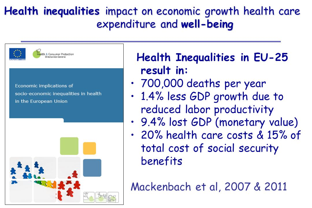 Health Inequalities in EU-25 result in: 700,000 deaths per year 1.4% less GDP growth due to reduced labor productivity 9.4% lost GDP (monetary value)