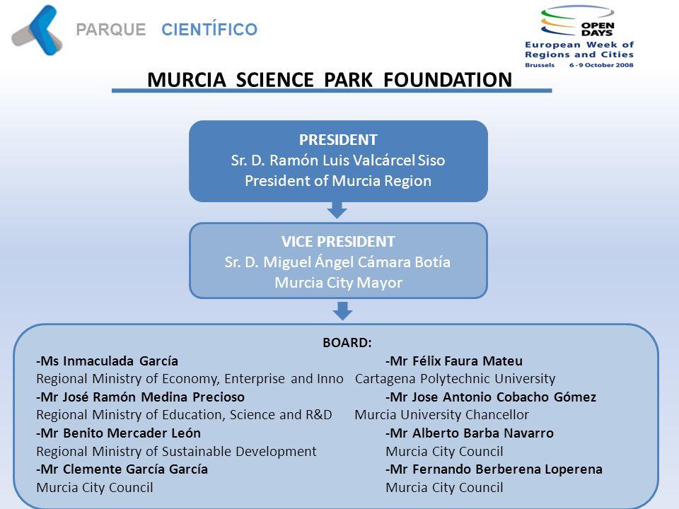 PARQUE CIENTÍFICO MURCIA MURCIA SCIENCE PARK FOUNDATION PRESIDENT Sr.