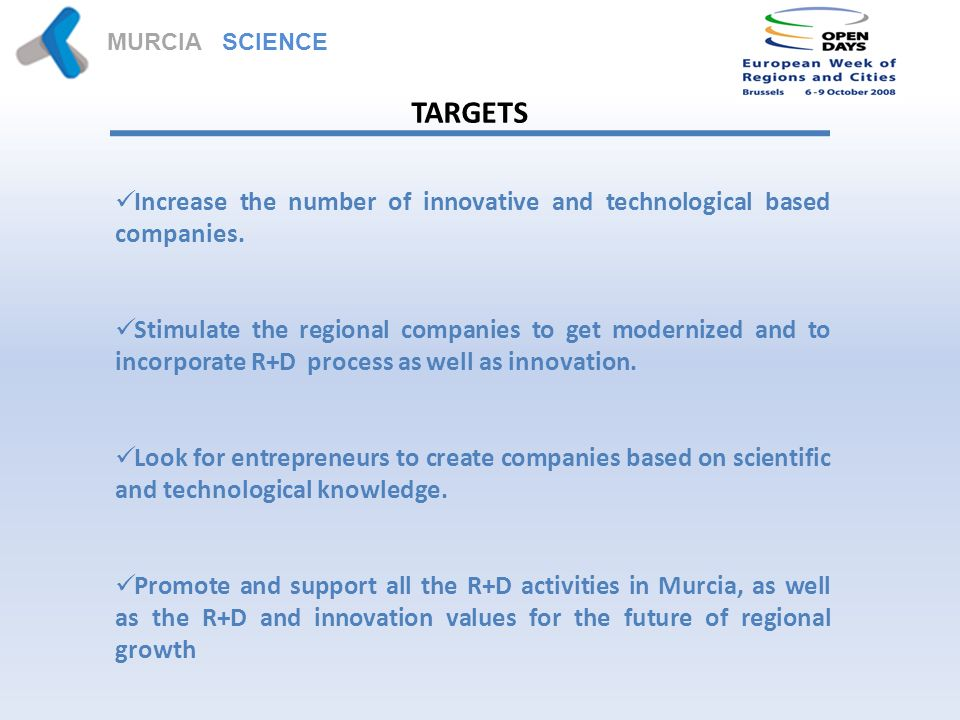 MURCIA SCIENCE PARK TARGETS Increase the number of innovative and technological based companies.