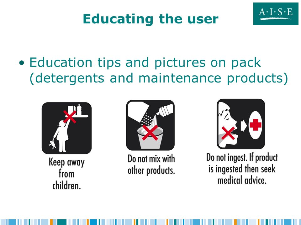 Educating the user Education tips and pictures on pack (detergents and maintenance products)