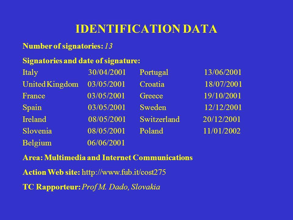 IDENTIFICATION DATA Number of signatories: 13 Signatories and date of signature: Italy 30/04/2001 Portugal 13/06/2001 United Kingdom 03/05/2001Croatia 18/07/2001 France 03/05/2001 Greece 19/10/2001 Spain 03/05/2001Sweden 12/12/2001 Ireland 08/05/2001Switzerland 20/12/2001 Slovenia 08/05/2001Poland 11/01/2002 Belgium 06/06/2001 Area: Multimedia and Internet Communications Action Web site: http://www.fub.it/cost275 TC Rapporteur: Prof M.