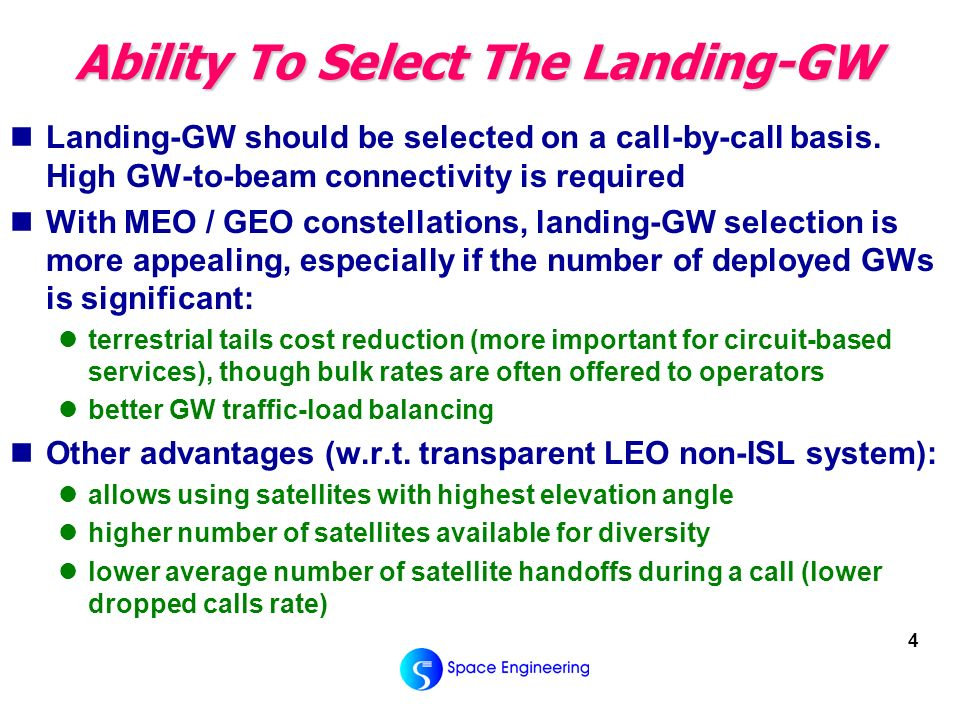 4 Ability To Select The Landing-GW Landing-GW should be selected on a call-by-call basis.