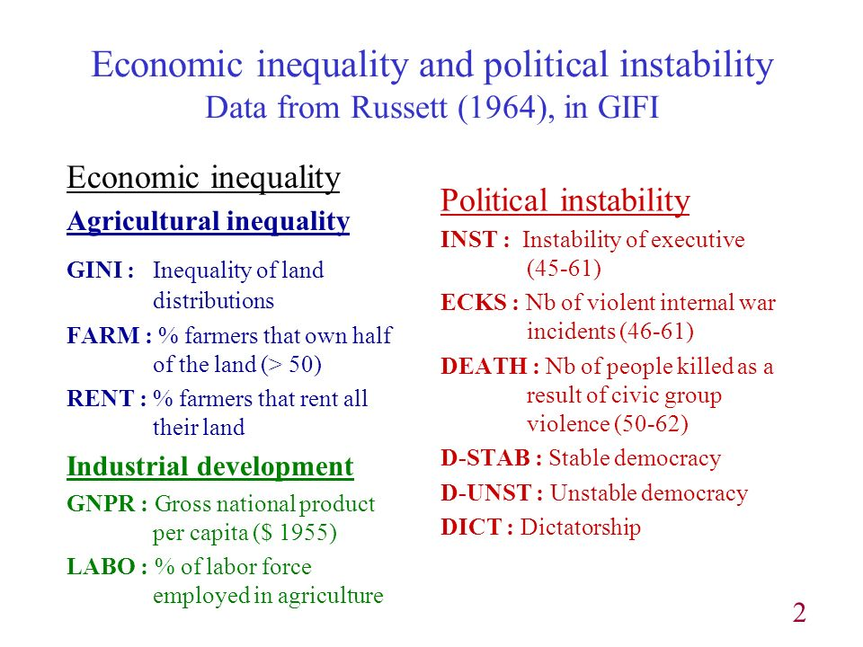 2 Economic inequality and political instability Data from Russett (1964), in GIFI Economic inequality Agricultural inequality GINI : Inequality of land distributions FARM : % farmers that own half of the land (> 50) RENT : % farmers that rent all their land Industrial development GNPR : Gross national product per capita ($ 1955) LABO : % of labor force employed in agriculture Political instability INST : Instability of executive (45-61) ECKS : Nb of violent internal war incidents (46-61) DEATH : Nb of people killed as a result of civic group violence (50-62) D-STAB : Stable democracy D-UNST : Unstable democracy DICT : Dictatorship
