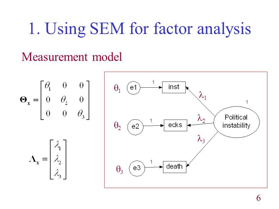 6 1. Using SEM for factor analysis Measurement model 1 2 3 1 2 3