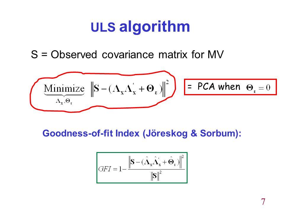 7 ULS algorithm S = Observed covariance matrix for MV Goodness-of-fit Index (Jöreskog & Sorbum): = PCA when
