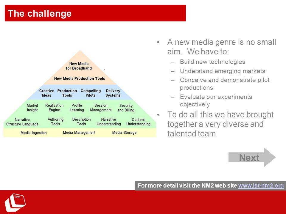 The challenge A new media genre is no small aim.