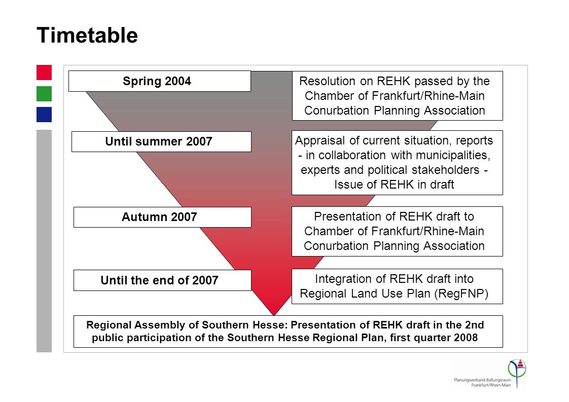 Timetable Resolution on REHK passed by the Chamber of Frankfurt/Rhine-Main Conurbation Planning Association Appraisal of current situation, reports -