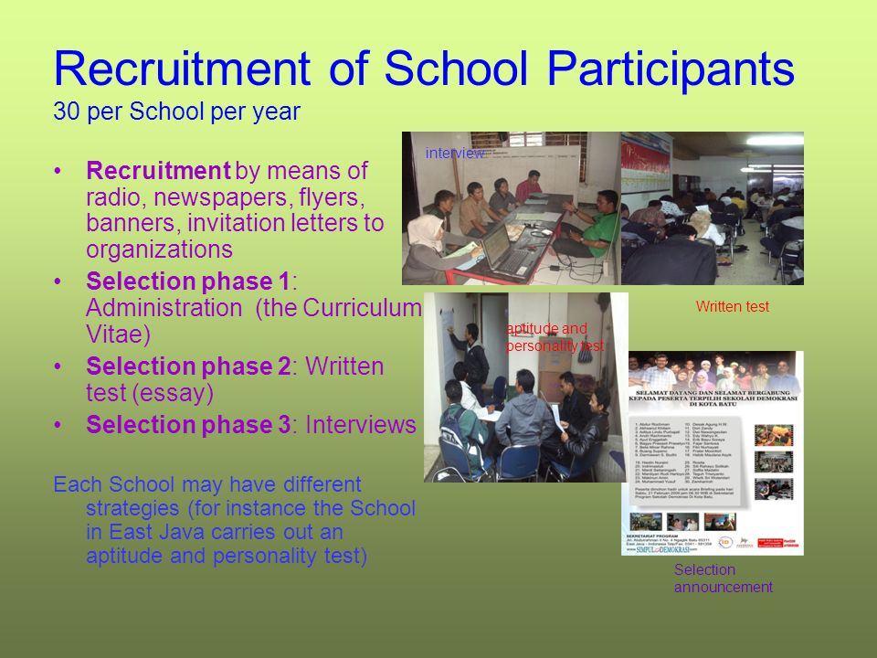 Recruitment of School Participants 30 per School per year Recruitment by means of radio, newspapers, flyers, banners, invitation letters to organizations Selection phase 1: Administration (the Curriculum Vitae) Selection phase 2: Written test (essay) Selection phase 3: Interviews Each School may have different strategies (for instance the School in East Java carries out an aptitude and personality test) interview Written test Selection announcement aptitude and personality test