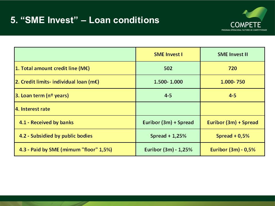 5. SME Invest – Loan conditions
