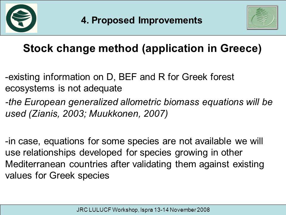 JRC LULUCF Workshop, Ispra 13-14 November 2008 Stock change method (application in Greece) -existing information on D, BEF and R for Greek forest ecos