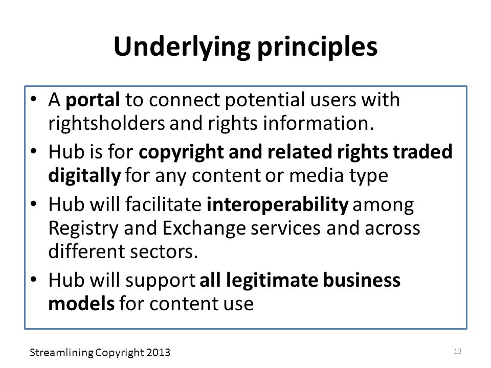 Underlying principles A portal to connect potential users with rightsholders and rights information. Hub is for copyright and related rights traded di