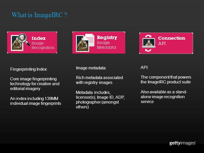 What is ImageIRC ? Fingerprinting Index: Core image fingerprinting technology for creative and editorial imagery An index including 139MM individual i