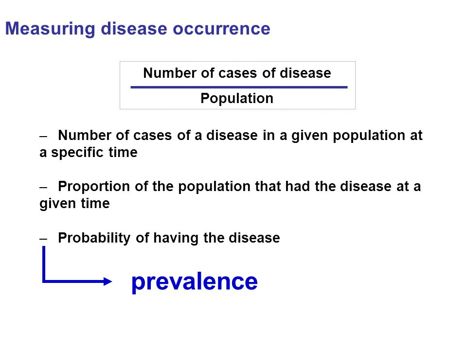 Measuring disease occurrence Number of cases of disease Population –Number of cases of a disease in a given population at a specific time –Proportion