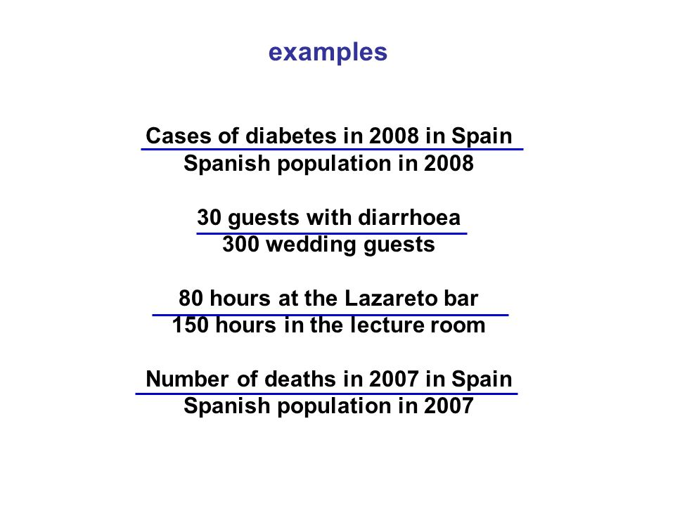 examples Cases of diabetes in 2008 in Spain Spanish population in 2008 30 guests with diarrhoea 300 wedding guests 80 hours at the Lazareto bar 150 ho
