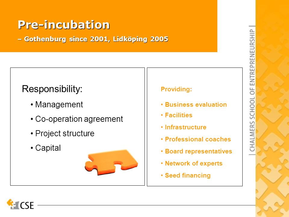 Pre-incubation – Gothenburg since 2001, Lidköping 2005 Responsibility: Management Co-operation agreement Project structure Capital Providing: Business evaluation Facilities Infrastructure Professional coaches Board representatives Network of experts Seed financing