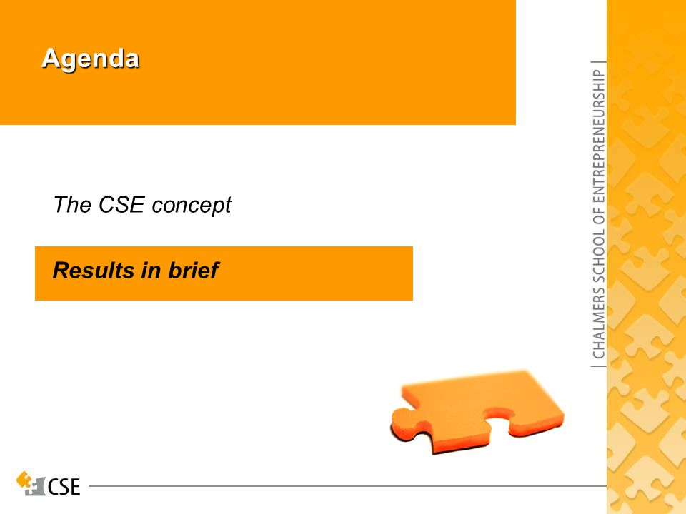 Agenda The CSE concept Results in brief