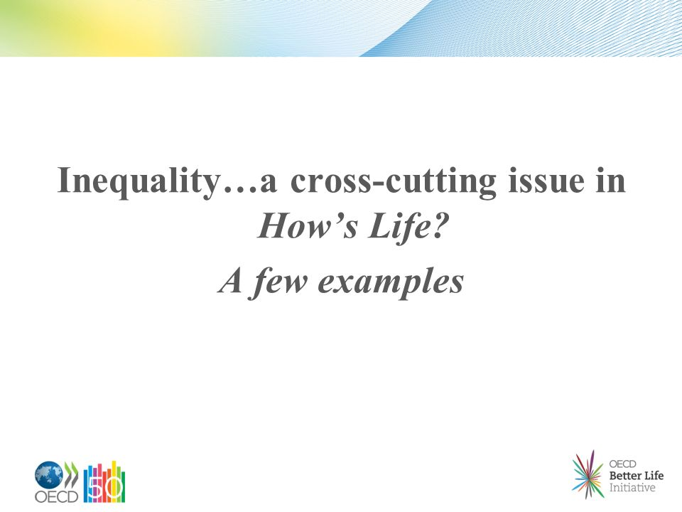 Inequality…a cross-cutting issue in Hows Life A few examples