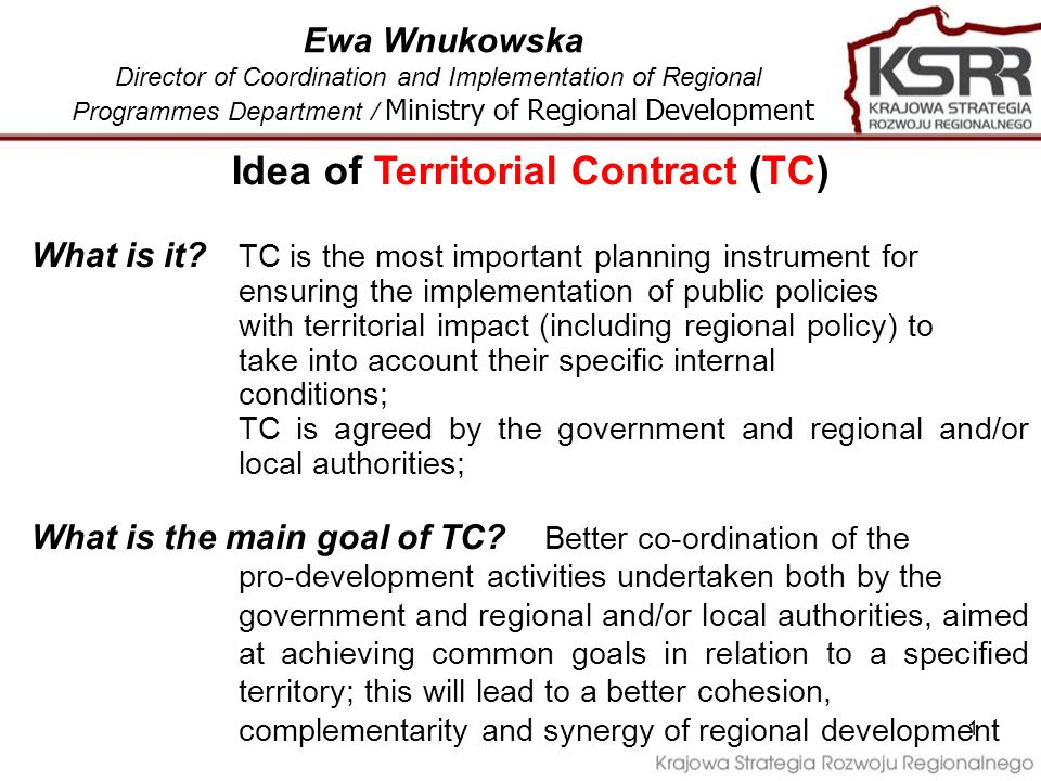 1 Idea of Territorial Contract (TC) What is it.
