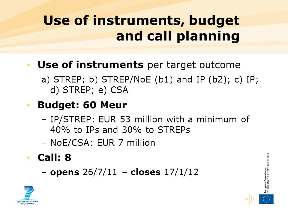 Use of instruments, budget and call planning Use of instruments per target outcome a) STREP; b) STREP/NoE (b1) and IP (b2); c) IP; d) STREP; e) CSA Budget: 60 Meur –IP/STREP: EUR 53 million with a minimum of 40% to IPs and 30% to STREPs –NoE/CSA: EUR 7 million Call: 8 –opens 26/7/11 – closes 17/1/12