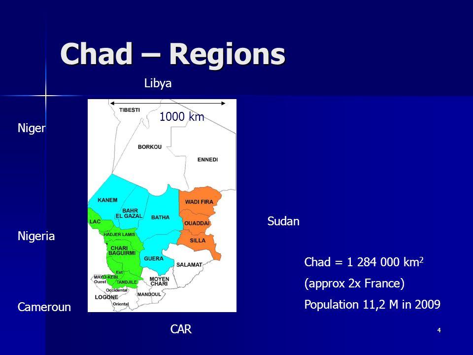 4 Chad – Regions Niger Libya Nigeria Cameroun CAR Sudan Chad = 1 284 000 km 2 (approx 2x France) Population 11,2 M in 2009 1000 km