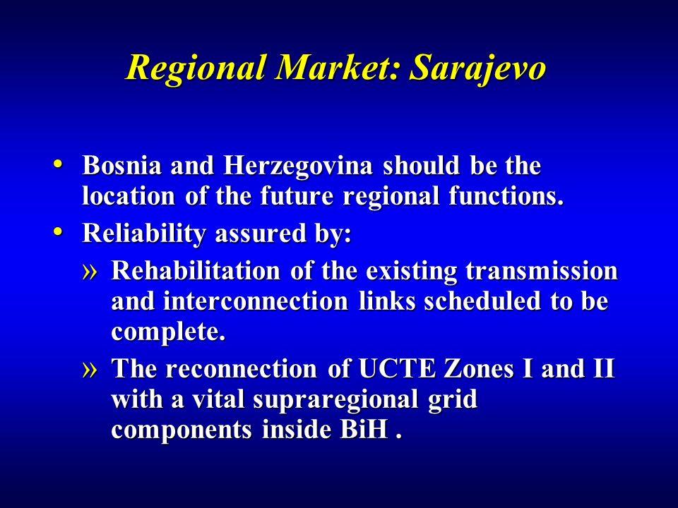 Regional Market: Sarajevo Bosnia and Herzegovina should be the location of the future regional functions.