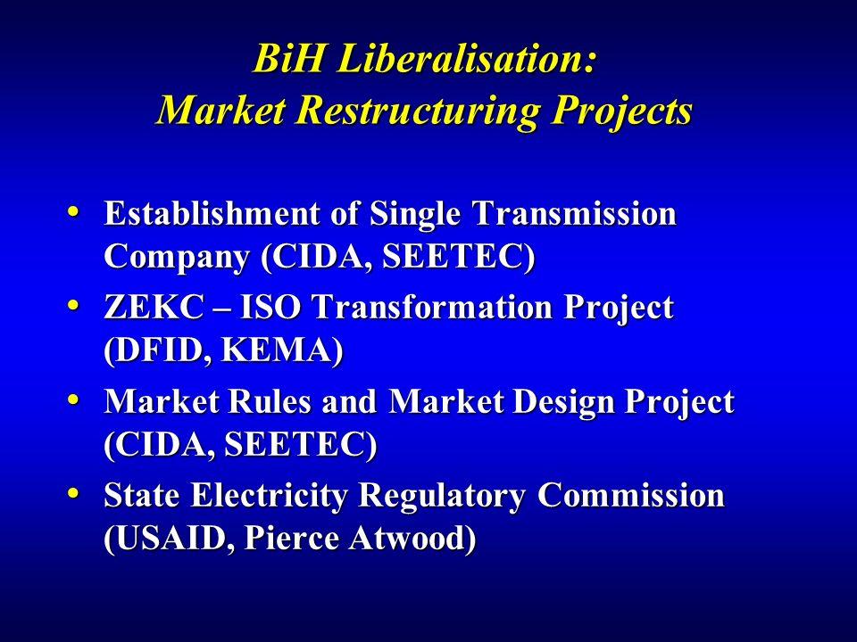 BiH Liberalisation: Market Restructuring Projects Establishment of Single Transmission Company (CIDA, SEETEC) Establishment of Single Transmission Company (CIDA, SEETEC) ZEKC – ISO Transformation Project (DFID, KEMA) ZEKC – ISO Transformation Project (DFID, KEMA) Market Rules and Market Design Project (CIDA, SEETEC) Market Rules and Market Design Project (CIDA, SEETEC) State Electricity Regulatory Commission (USAID, Pierce Atwood) State Electricity Regulatory Commission (USAID, Pierce Atwood)
