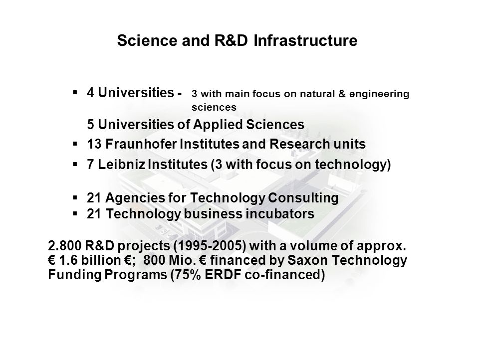 4 Universities - 3 with main focus on natural & engineering sciences 5 Universities of Applied Sciences 13 Fraunhofer Institutes and Research units 7