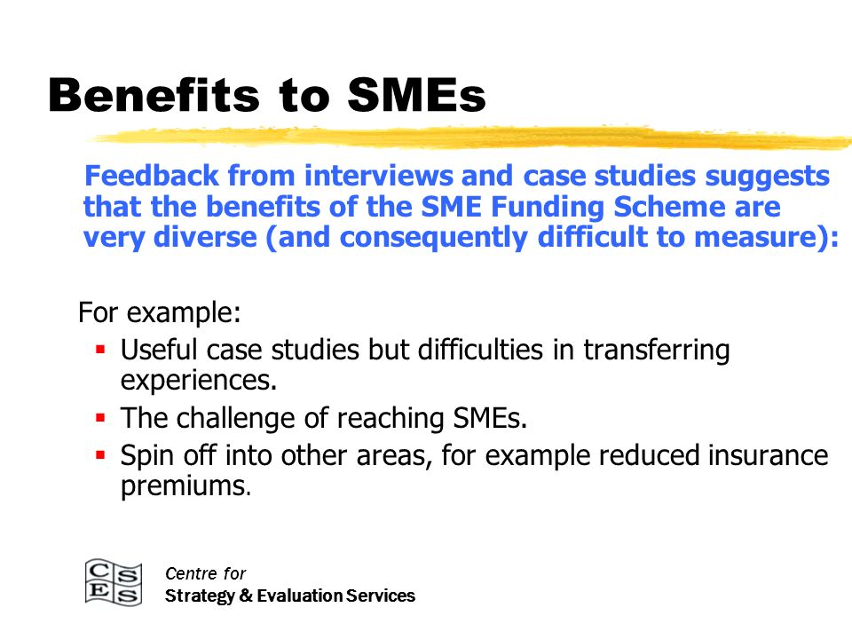 Centre for Strategy & Evaluation Services Benefits to SMEs Feedback from interviews and case studies suggests that the benefits of the SME Funding Scheme are very diverse (and consequently difficult to measure): For example: Useful case studies but difficulties in transferring experiences.