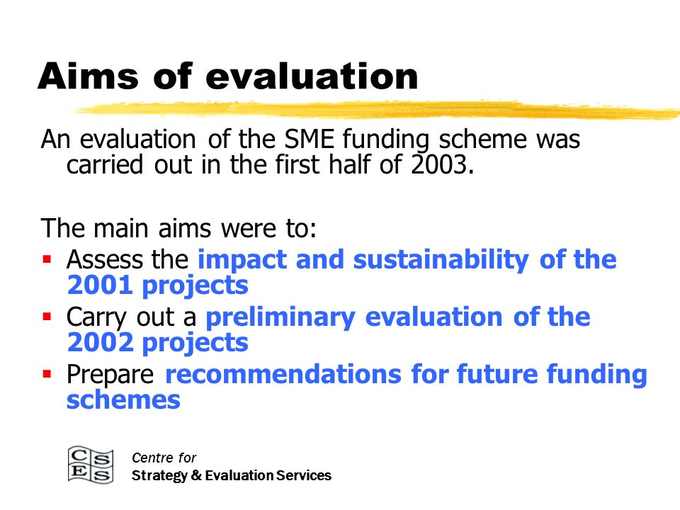 Centre for Strategy & Evaluation Services Aims of evaluation An evaluation of the SME funding scheme was carried out in the first half of 2003.