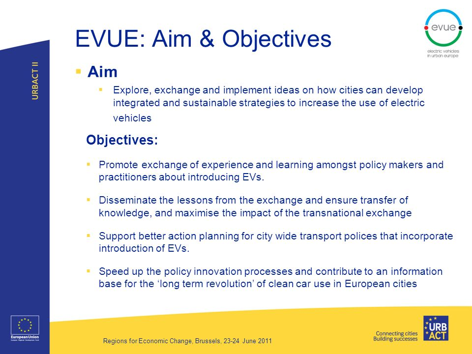 EVUE: Aim & Objectives Aim Explore, exchange and implement ideas on how cities can develop integrated and sustainable strategies to increase the use of electric vehicles Objectives: Promote exchange of experience and learning amongst policy makers and practitioners about introducing EVs.