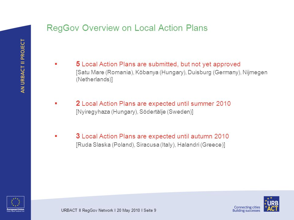 URBACT II RegGov Network I 20 May 2010 I Seite 9 RegGov Overview on Local Action Plans 5 Local Action Plans are submitted, but not yet approved [Satu Mare (Romania), Köbanya (Hungary), Duisburg (Germany), Nijmegen (Netherlands)] 2 Local Action Plans are expected until summer 2010 [Nyiregyhaza (Hungary), Södertälje (Sweden)] 3 Local Action Plans are expected until autumn 2010 [Ruda Slaska (Poland), Siracusa (Italy), Halandri (Greece)]