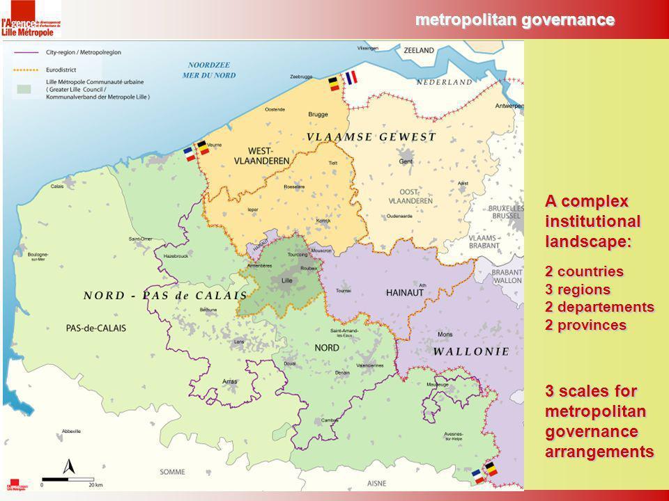 3 scales for metropolitan governance arrangements metropolitan governance A complex institutional landscape: 2 countries 3 regions 2 departements 2 provinces
