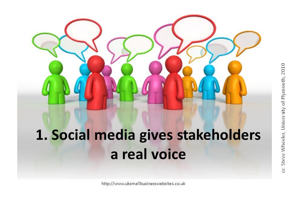 http://www.uksmallbusinesswebsites.co.uk 1. Social media gives stakeholders a real voice cc Steve Wheeler, University of Plymouth, 2010