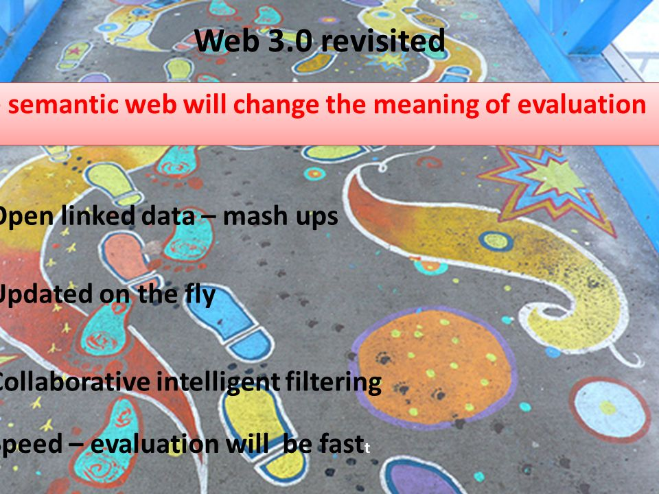 The semantic web will change the meaning of evaluation Open linked data – mash ups Updated on the fly Collaborative intelligent filtering Speed – evaluation will be fast t Web 3.0 revisited